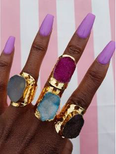 Load image into Gallery viewer, Colour druzy statement rings