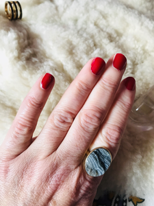 Black & grey Druzy ring