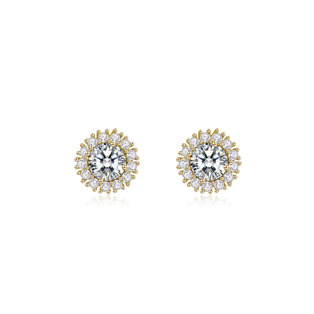 Cubic zirconia cluster round stud clear earrings