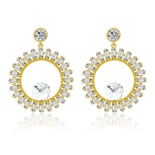 Load image into Gallery viewer, Hollow circle Cubic zirconia crystal gold earring