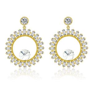 Hollow circle Cubic zirconia crystal gold earring
