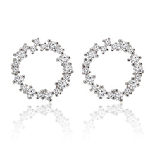 Load image into Gallery viewer, Circle cluster Cubic zirconia halo silver earrings.