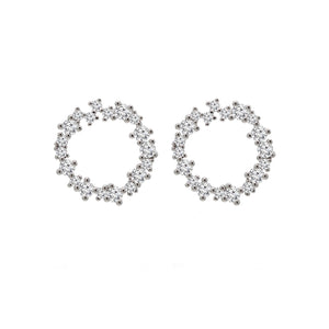 Circle cluster Cubic zirconia halo silver earrings.