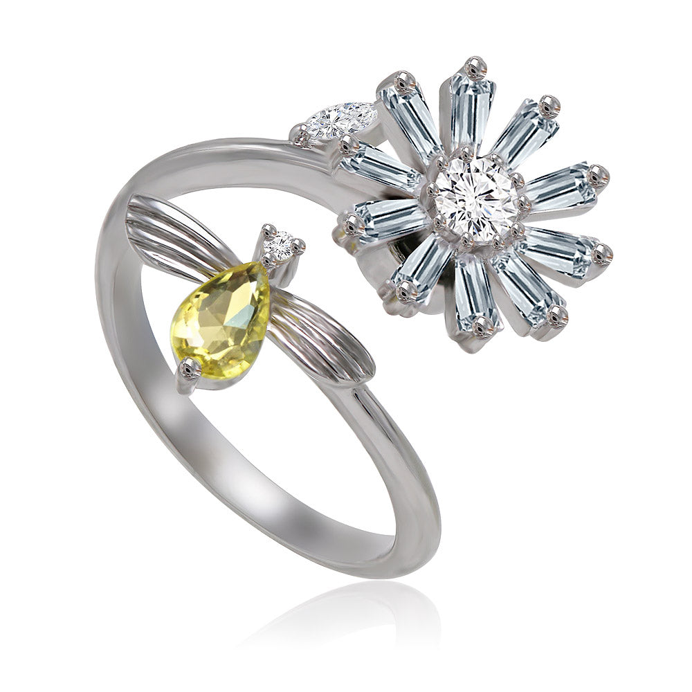 Daisy & bee spinning ring silver