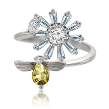 Load image into Gallery viewer, Daisy & bee spinning ring silver