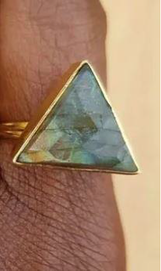 Large Triangle Labradorite Gold Ring