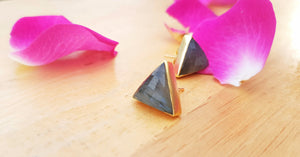 Triangle Labradorite Gold Statement Stud Earrings