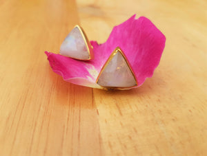 Triangle Rainbow Moonstone Gold Statement Stud Earrings