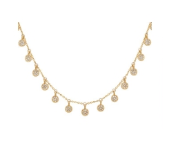 Pave Disc Delicate Necklace in Gold