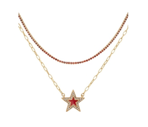 Double Row Crystal Choker and Star in Red/Gold