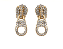 Load image into Gallery viewer, Pave crystal Zip Stud Earrings in Gold