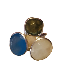 Three coloured semi precious ring