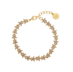 Tennis Crystal Star Bracelet in Gold