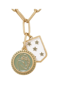 'Stronger Together' Gold Hug and Star Shield Necklace