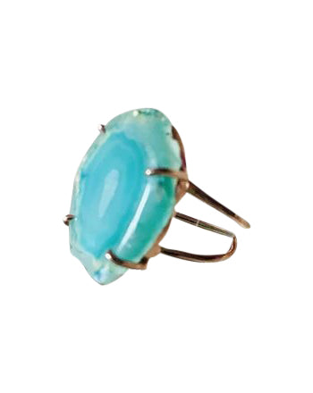 YAA YAA LONDON sliced Agate ring in sterling silver