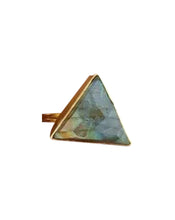 Load image into Gallery viewer, Large Triangle Labradorite Gold Ring