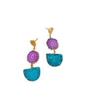 Load image into Gallery viewer, Violet Solar Quartz and Turquoise Druzy Agate Gold Pendant Earrings