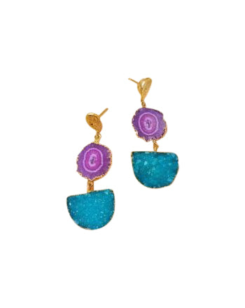 Violet Solar Quartz and Turquoise Druzy Agate Gold Pendant Earrings