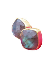 Load image into Gallery viewer, Labradorite Gold Stud Earrings