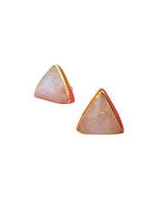 Load image into Gallery viewer, Triangle Rainbow Moonstone Gold Statement Stud Earrings