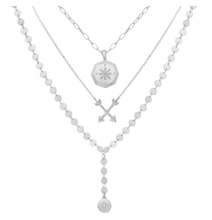 Load image into Gallery viewer, Triple Row 3 layered Compass Necklace set in Silver