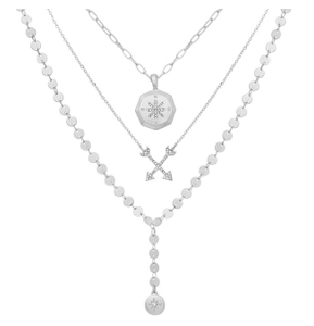 Triple Row 3 layered Compass Necklace set in Silver