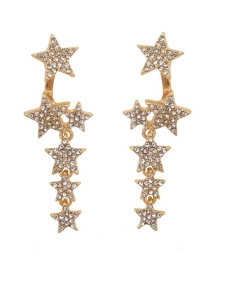 Tennis Crystal Star Earring in Gold