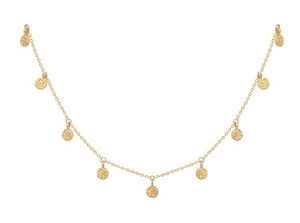 Hammered Disc Delicate Necklace in Gold