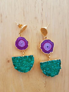 Purple Solar Quartz and Green Druzy Agate Gold Pendant Earrings