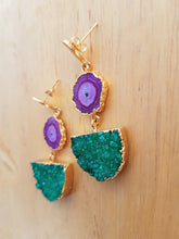 Load image into Gallery viewer, Purple Solar Quartz and Green Druzy Agate Gold Pendant Earrings