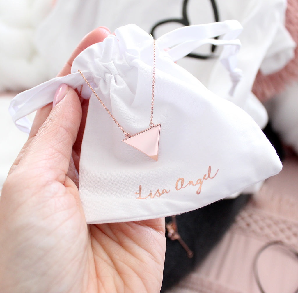 18ct rose gold triangle heart necklace from lisa angel.