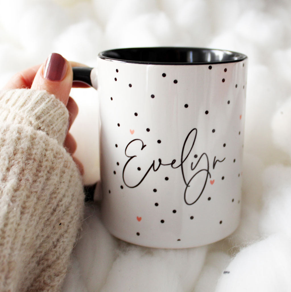Personalised mug with polka dot pattern