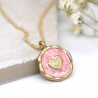 Pearlescent pink enamel and golden heart necklace - Add on