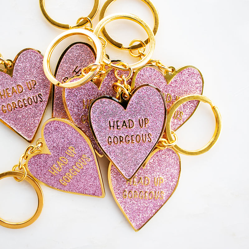 Head up Gorgeous - Glittery Heart KeyringGlittery Heart Keyring - Head up Gorgeous