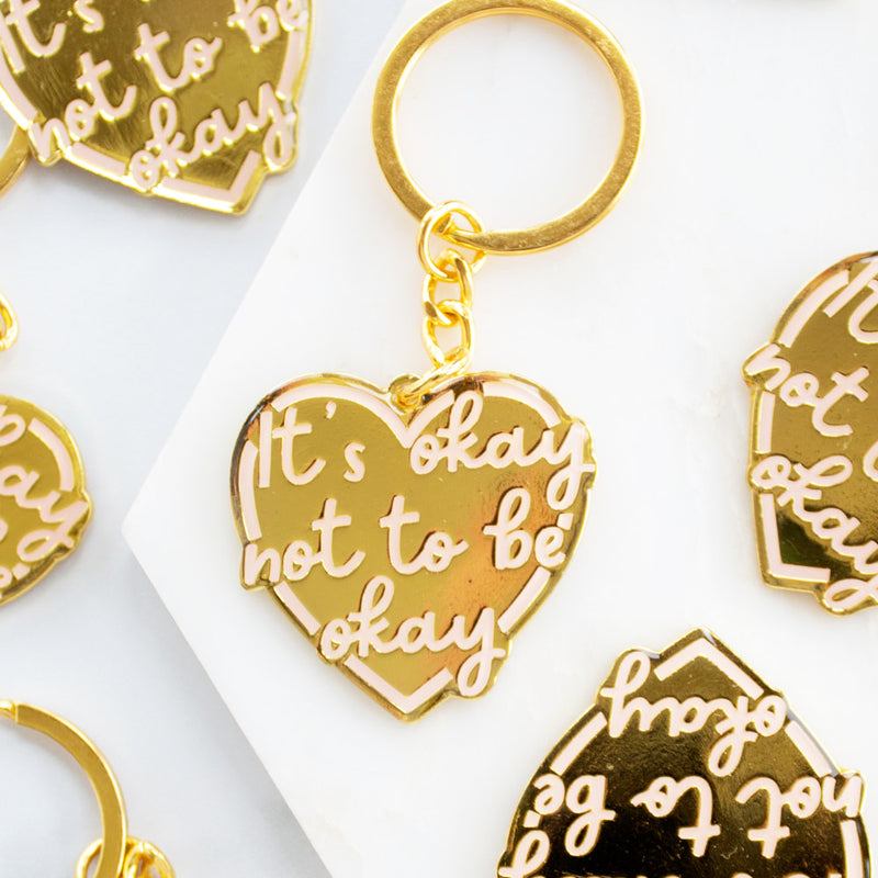 It's okay not to be okay Gold Enamel Keyring