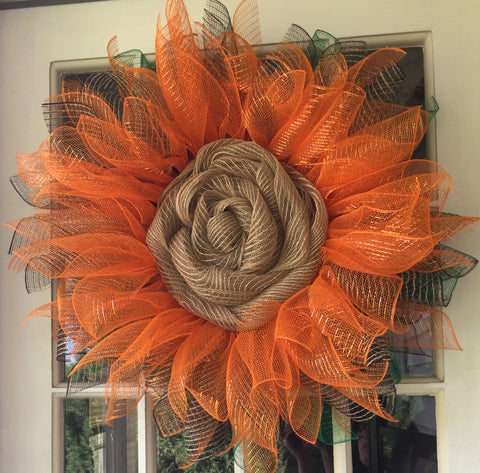 Outdoor Seasonal Wreath, Deco Mesh/Burlap, Large Sunflower