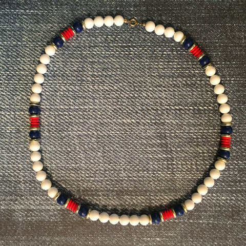 Vintage Bead Necklace Costume Jewelry Red White Blue