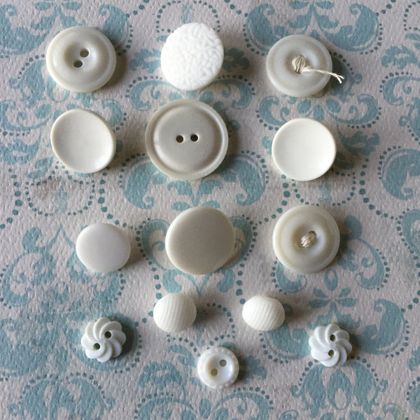 Vintage White Buttons Plastic Glass