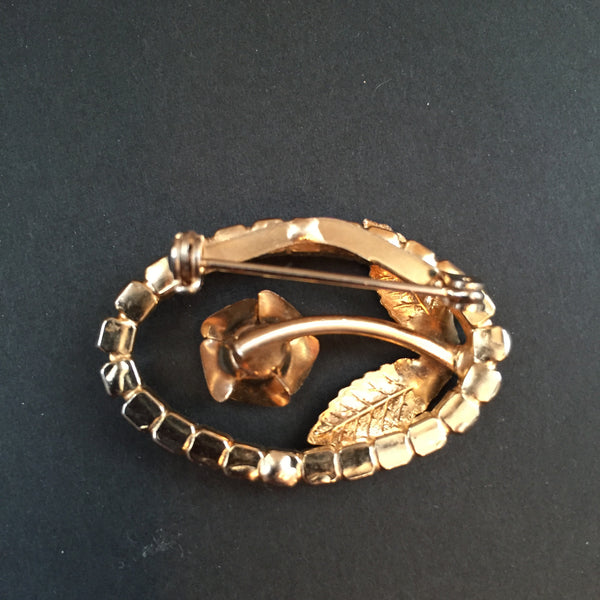 Vintage Brooch Oval Rose Goldtone