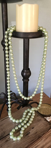 Vintage Extra Long Pearlescent Celery Green Bead Necklace