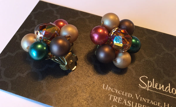 Vintage Clustered Bead Earrings