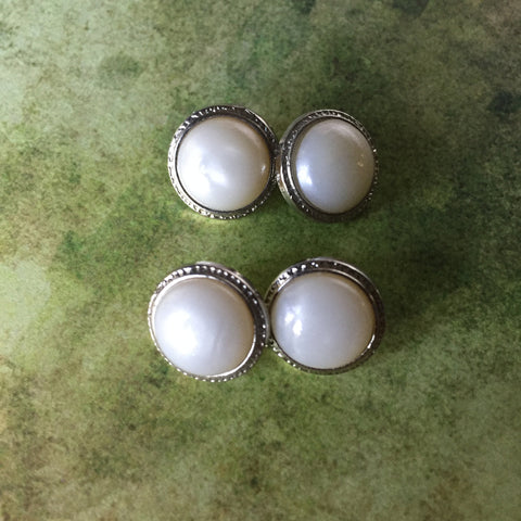 Vintage Metal Buttons With Pearl Moonstone Center