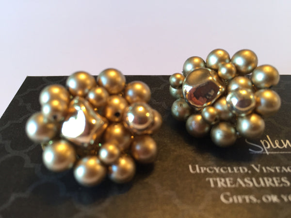 Vintage Earrings Bead Cluster Clip On