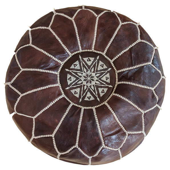 Leather pouf (Dark Brown)
