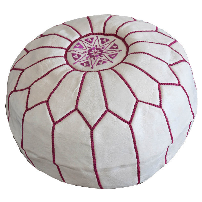 Leather pouf (White - dark pink stitching)