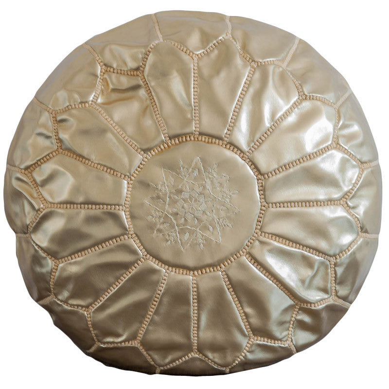Leather pouf (Gold)