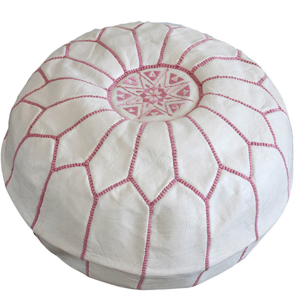 Leather pouf (White - light pink stitching)