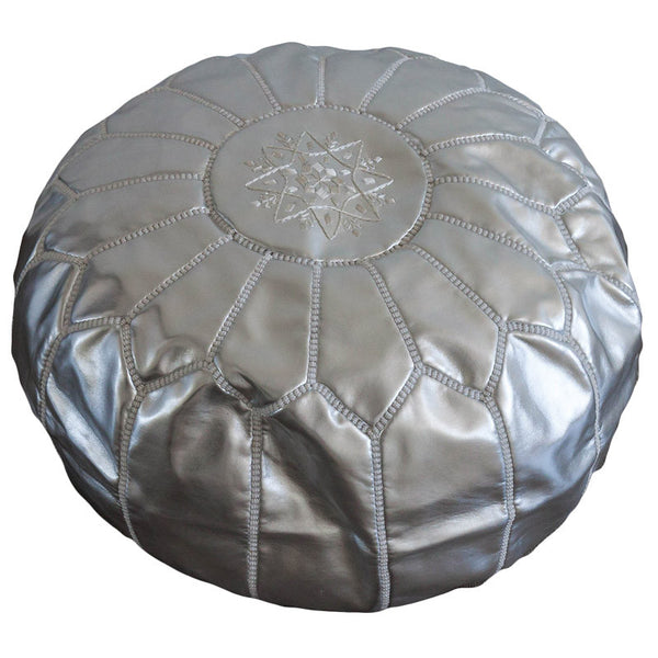 Leather pouf (Silver)