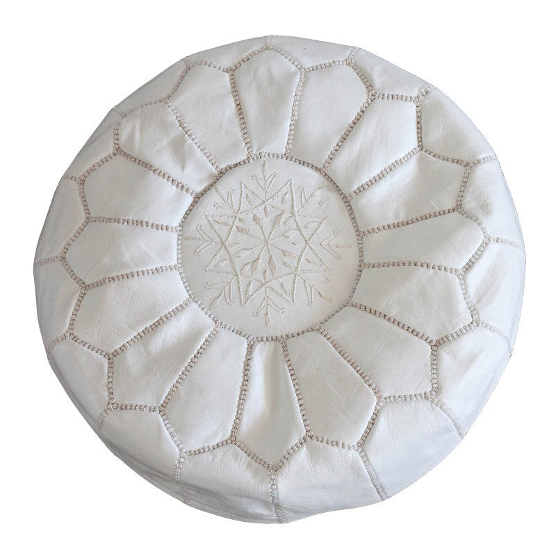 Leather pouf (White - white stitching)