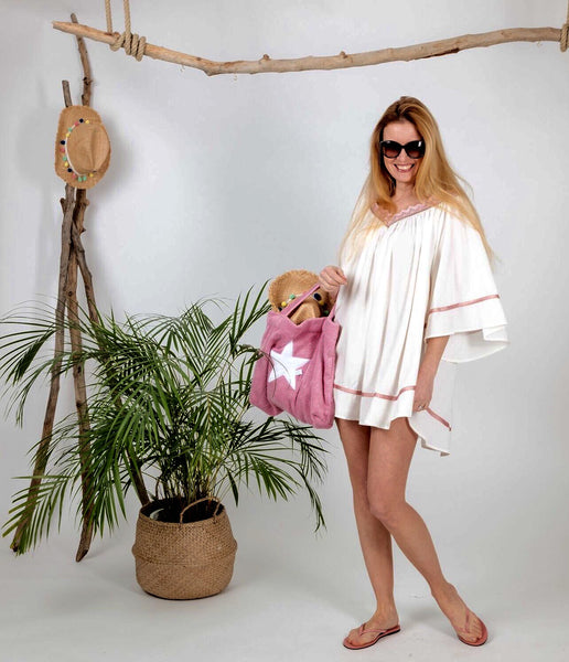 "Light summer tunic ""Angel"": white/powerpink"